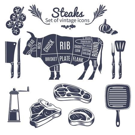 Steaks Vintage Style Icons Set