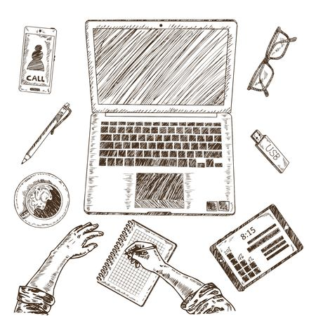 pen tablet: Business Workplace Sketch Concept