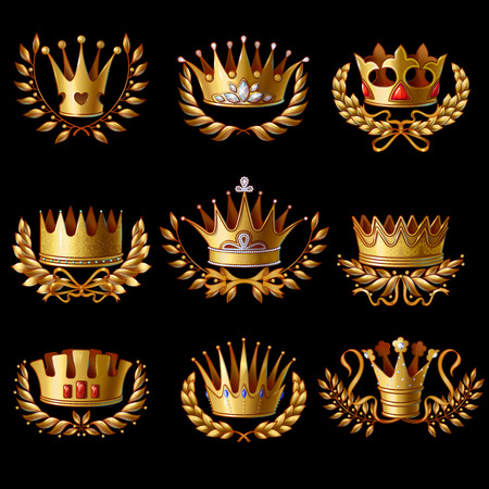 Beautiful gold royal crowns set with laurel wreaths gems and jewels on black background isolated vector illustration.