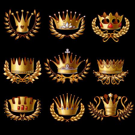 Mooie gouden koninklijke kronen die met lauwerkransengemmen en juwelen op zwarte achtergrond geïsoleerde vectorillustratie worden geplaatst.