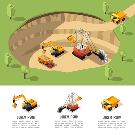 Colorful Isometric Coal Extraction Composition