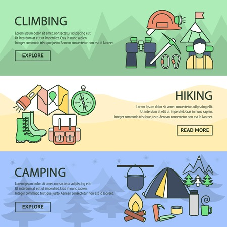 Mountaineering Horizontal Linear Banners Set Illustration