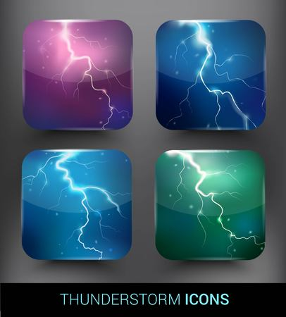 Realistic Thunderstorm Elements Set Illustration