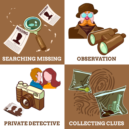 Detective Service Compositions Stock Vector - 81015317