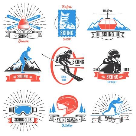 Colored Skiing Vintage Labels Set Иллюстрация