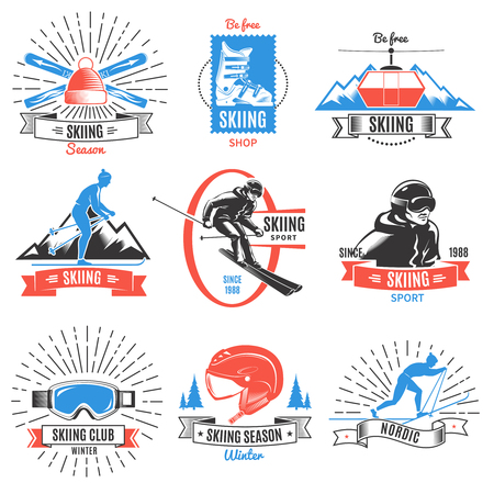 Colored Skiing Vintage Labels Set Illustration