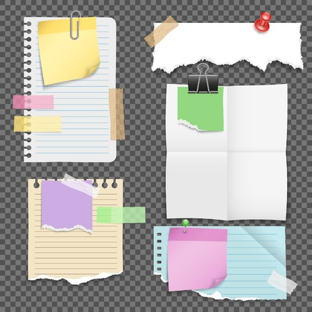 Paper Sheets With Stationery Set Illustration