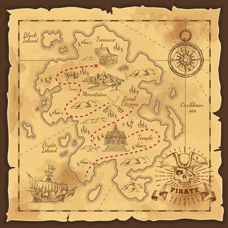 Pirate Treasure Map Hand Drawn Illustration Zdjęcie Seryjne - 81020017