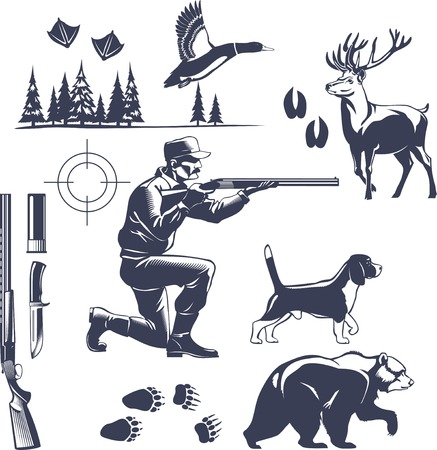 Hunting Vintage Style Icons Set Ilustração