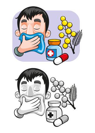 漫画アレルギー テンプレート  イラスト・ベクター素材
