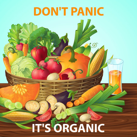 Organic Vegetables Basket Background 向量圖像