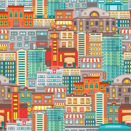 Flat Cityscape Seamless Pattern Ilustração