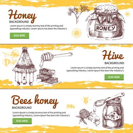 Honey Hand Drawn Banners Set Ilustração