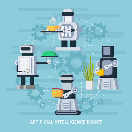 Artificial intelligence robot concept with cyborgs acting watering cooking and waiter functions vector illustration