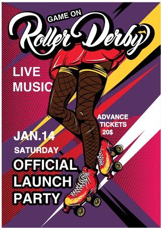 Cartel de la publicidad de Derby del rodillo de la Poster Foto de archivo - 81128058