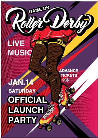 Cartoon Rollerscate Derby Advertising Poster