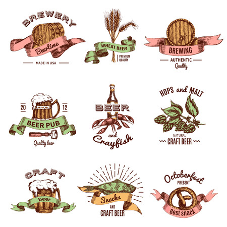 Beer Colored Hand Drawn Emblems Stock Illustratie