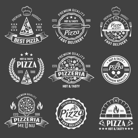 Conjunto de emblemas de pizza monocromo Foto de archivo - 81128090