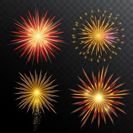 Festive Fireworks Set Illustration