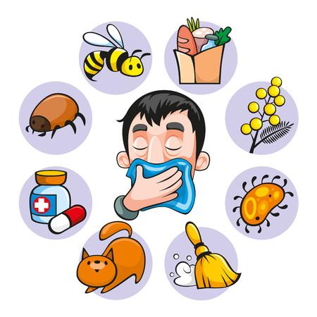 Conjunto de alergia colorida de dibujos animados