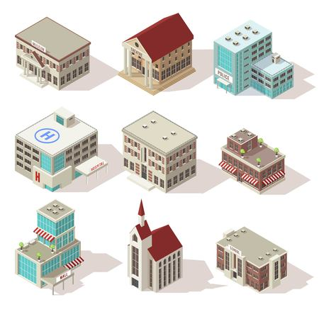 City Buildings Isometric Icons Set Vectores