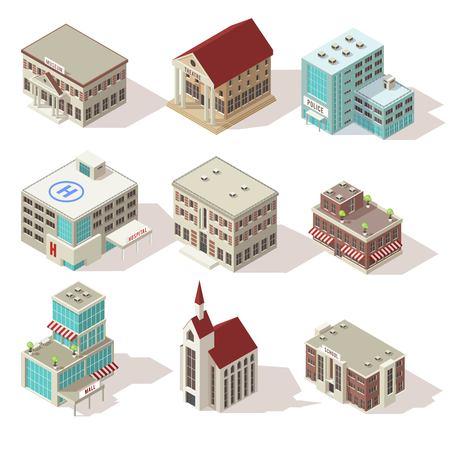 Stadsgebouwen isometrische pictogrammen instellen Vector Illustratie