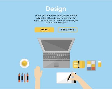 Flat Designer Workplace Template Illustration