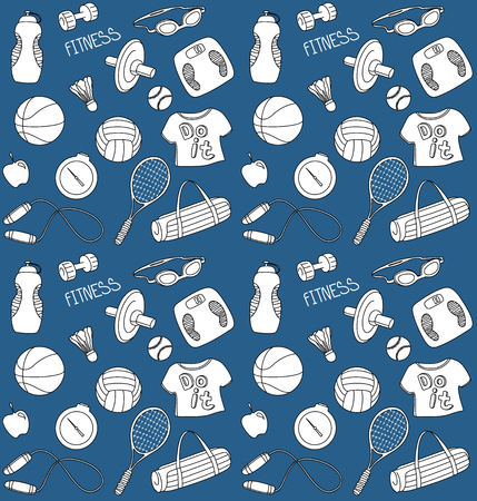 hand with dumbbell: Doodle Sport Seamless Pattern