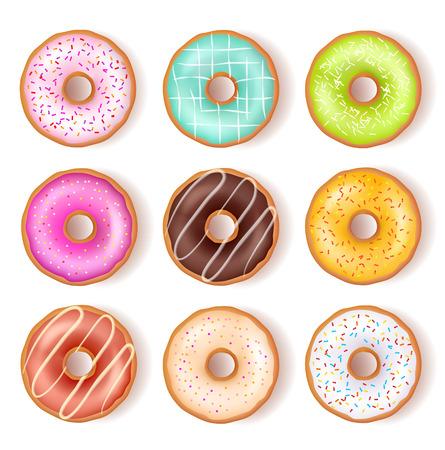 Bright Tasty Donuts Top View Set Illusztráció