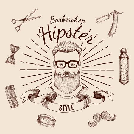 Barbershop hipster style design.