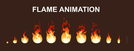 Light fire flames animation collection. Vettoriali