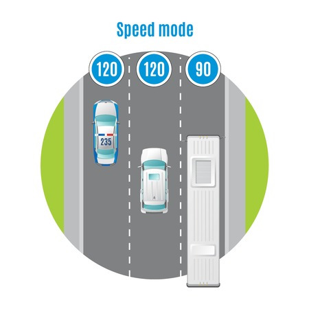 recommended: Colorful car traffic top view concept. Illustration