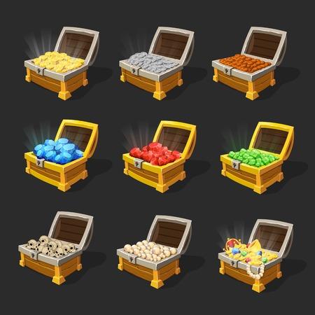 Isometric treasure chests set.