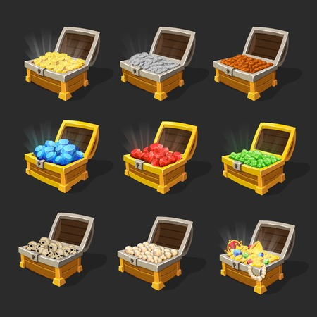 Isometric treasure chests set.