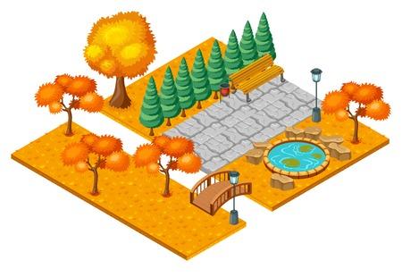 Isometrische herfst stadspark landschapsconcept. Stock Illustratie
