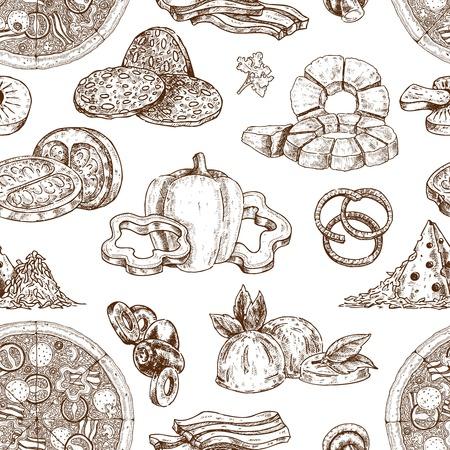 Drawn pizza ingredients pattern. 向量圖像