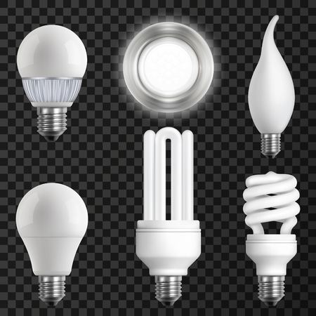 Realistic light bulbs set.