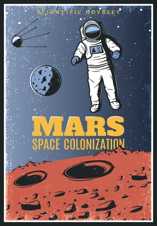 Colored vintage Mars exploration poster.