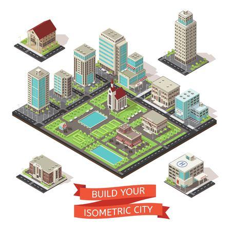 Stadscreatie isometrisch ingesteld. Stock Illustratie