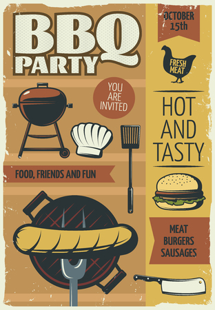 BBQ party poster.