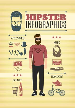Lichte hipster modevormgeving. Stock Illustratie