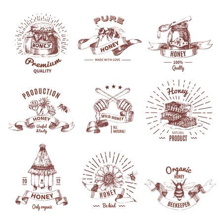 Honey hand drawn emblems. Illustration
