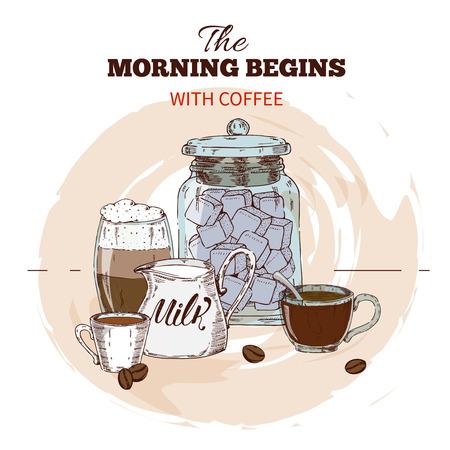 아침 커피 손으로 그려진 라운드 디자인 일러스트