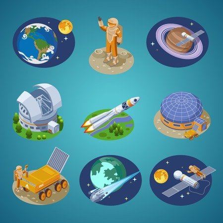 moon rover: Isometric Space Elements Set