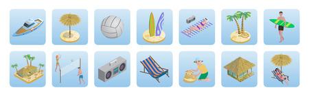 Isometric Summer Beach Vacation Icons Set