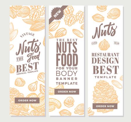 Vintage Noten Voedsel Verticale Banners