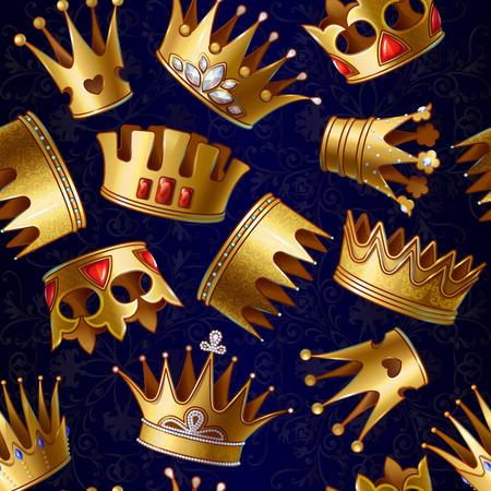 Cartoon Gold Royal Crowns Pattern Stock Vector - 81883342