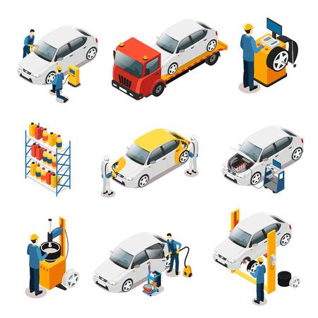 Isometric Car Repair Services Set Çizim