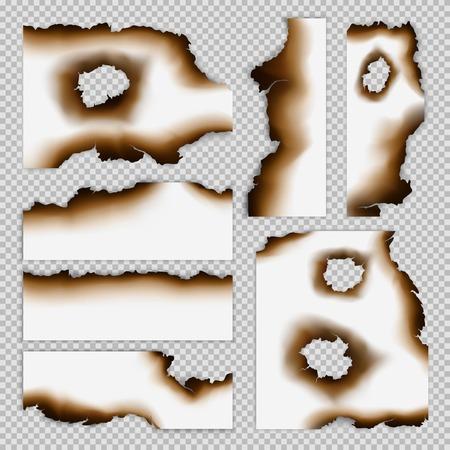 Realistische verschroeide stukken papier set