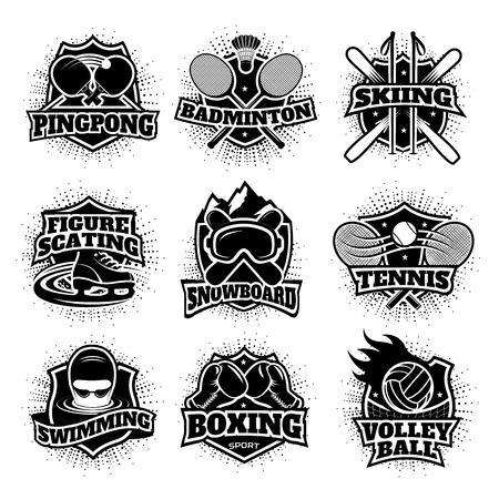 モノクロ スポーツ ロゴ セット